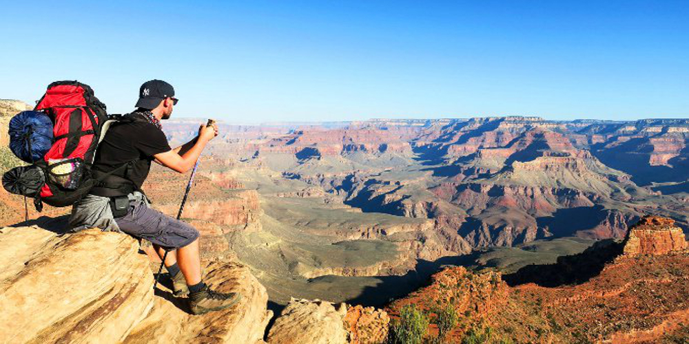 A guy in a backpacking adventure