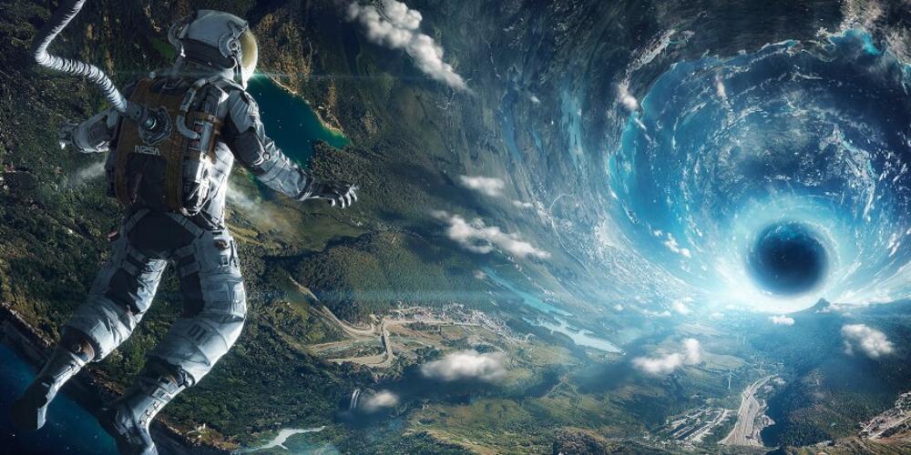 An astonaut in the sci-fi context of an O'Neill cylinder